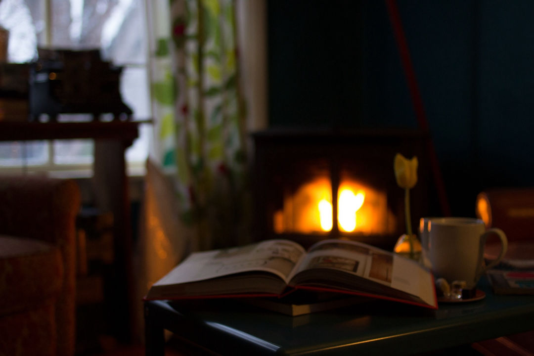 open book, cup, and flower on table in front of woodstove